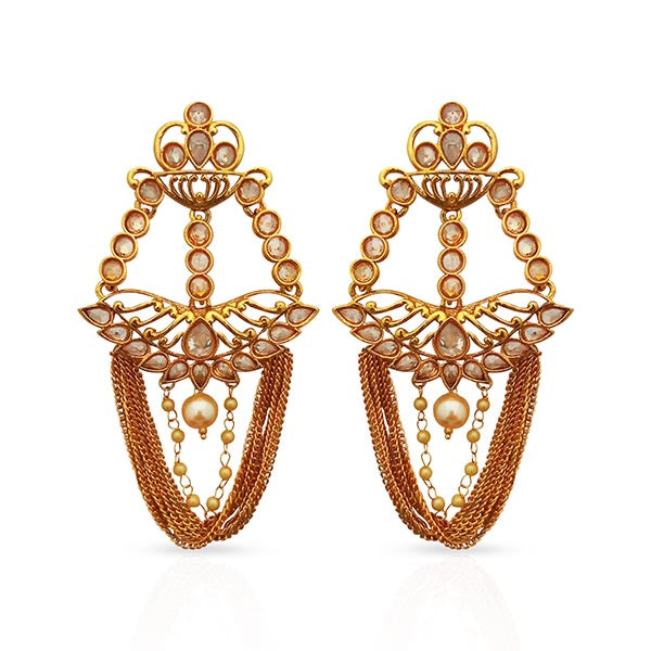 Shreeji AD Stone Gold Plated Dangler Earrings