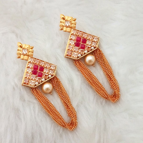 Shreeji Gold Plated Pink Ruby Stone Dangler Earrings