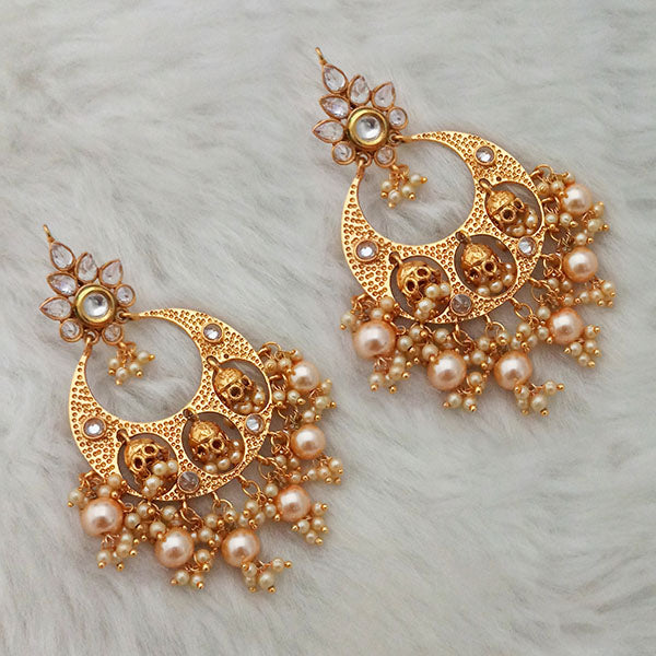 Shreeji Gold Plated AD Stone Dangler Earrings