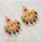Shreeji Gold Plated Maroon Green Stone Dangler Earrings