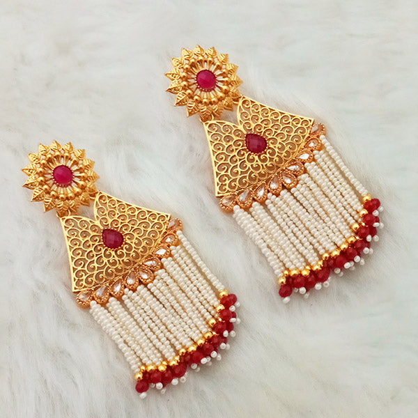 Shreeji Gold Plated Maroon Stone Pearl Drop Dangler Earrings