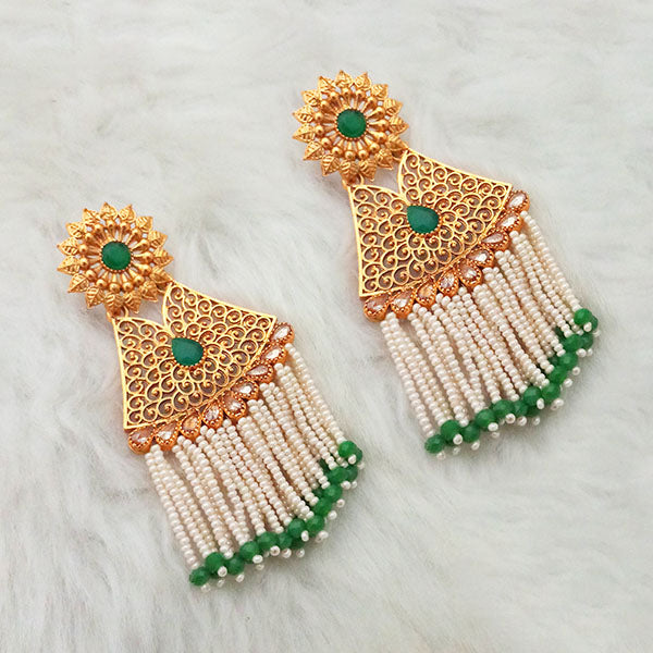 Shreeji Green Stone Gold Plated Pearl Drop Dangler Earrings