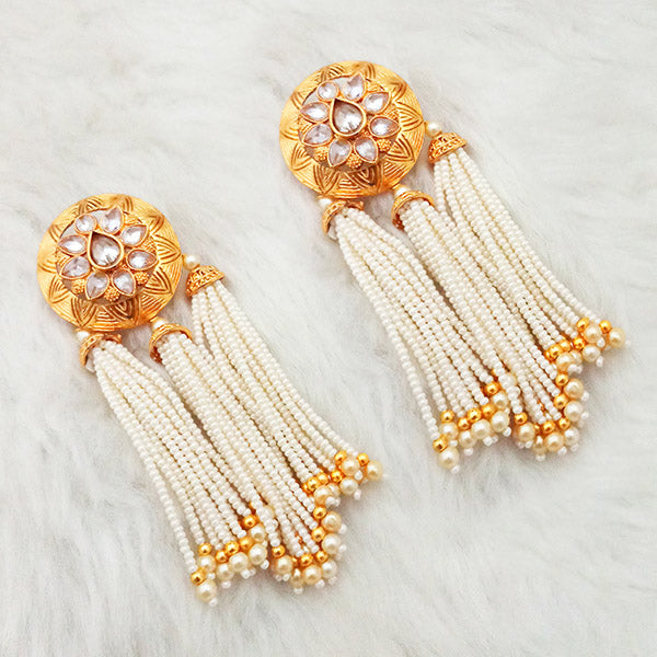 Shreeji AD Stone Gold Plated Pearl Drop Dangler Earrings