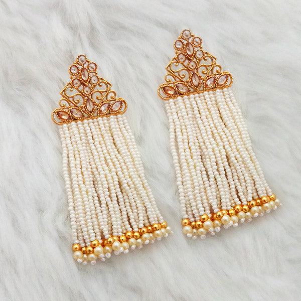 Shreeji AD Stone Pearl White Gold Plated Dangler Earrings