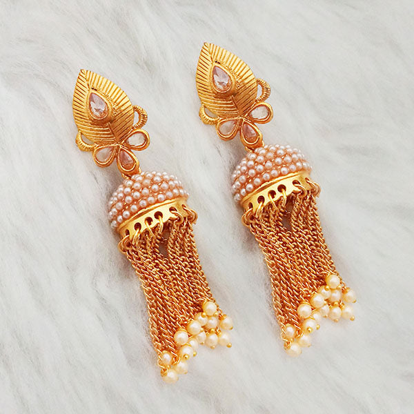 Shreeji AD Stone Gold Plated Pearl Drop Jhumki Earrings
