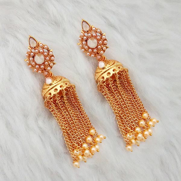 Kriaa AD Stone Gold Plated Pearl Drop Dangler Earrings