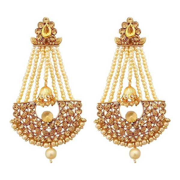 Native Haat Gold Plated Brown Austrian Stone Pearl Dangler Earrings - N1312948D
