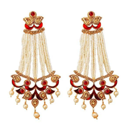 Kriaa Maroon Meenakari Austrian Stone Pearl Dangler Earrings