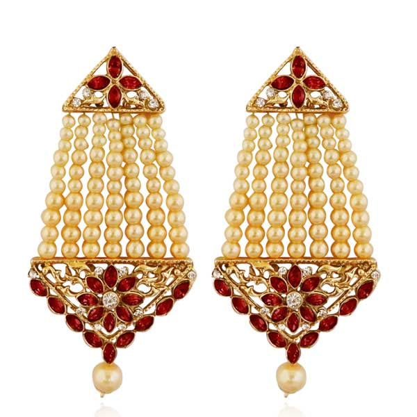 Kriaa Maroon Kundan Stone Gold Plated Dangler Earrings