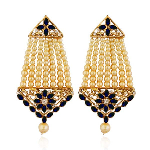 Kriaa Blue Kundan Stone Gold Plated Dangler Earrings