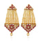 Kriaa Pink Kundan Stone Gold Plated Dangler Earrings