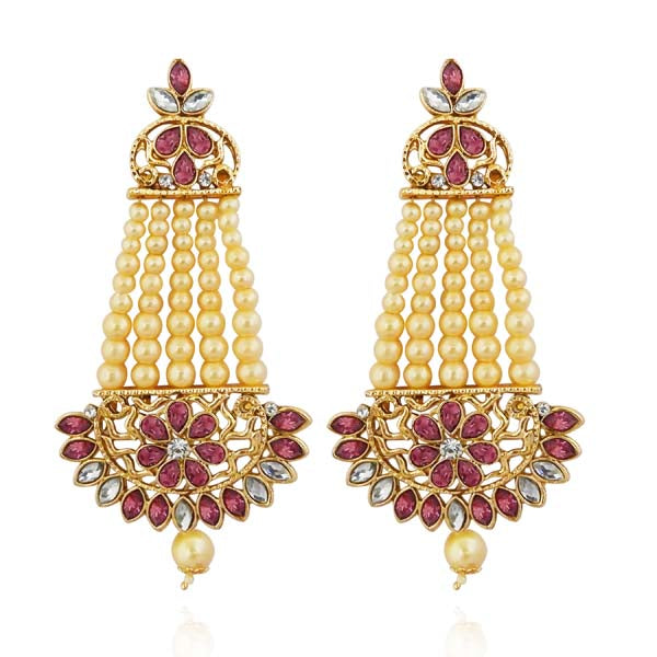 Kriaa Pink kundan Gold Plated Dangler Earrings