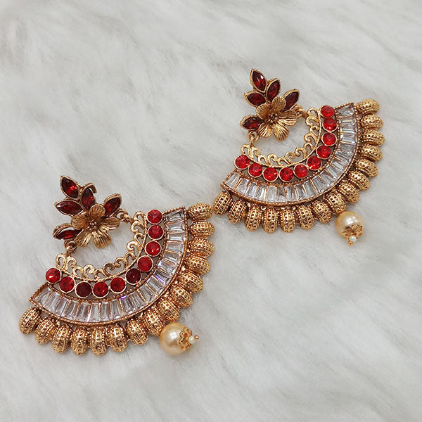 Kriaa Gold Plated AD Stone Dangler Earrings