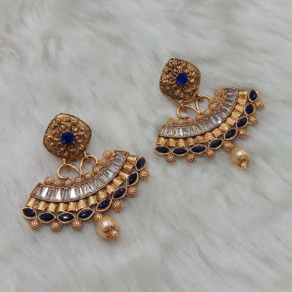 Kriaa AD Stone Gold Plated Dangler Earrings