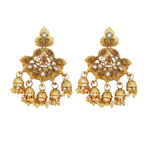 Kriaa Austrian Stone Gold Plated Dangler Jhumki Earrings