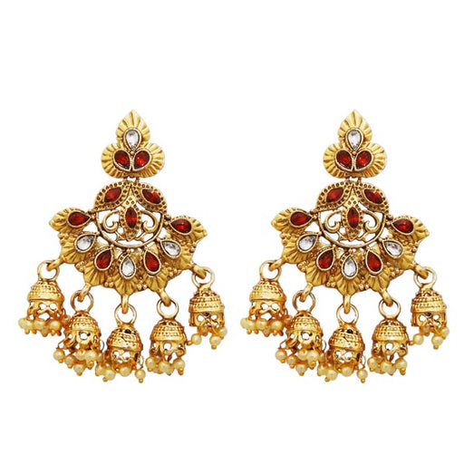 Kriaa Gold Plated Maroon Austrian Stone Dangler Jhumki Earrings