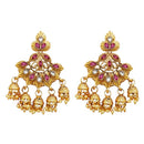 Kriaa Gold Plated Pink Austrian Stone Dangler Jhumki Earrings