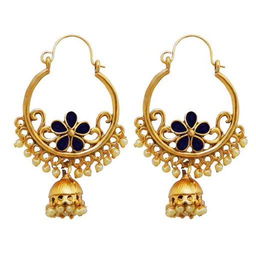Kriaa Blue Austrian Stone Gold Plated Chandbali Earrings