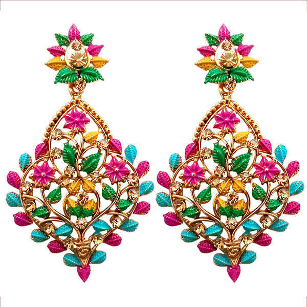 Kriaa Gold Plated Floral Design Dangler Earrings