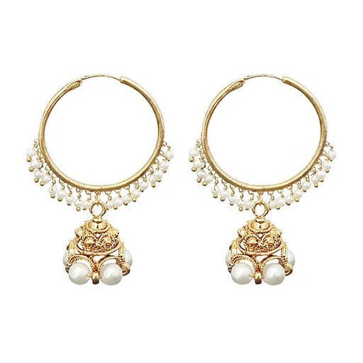 Kriaa Gold Plated White Pearl Jhumki Earrings
