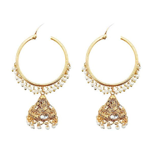 Kriaa Gold Plated White Austrian Stone And Pearl Jhumki Earrings