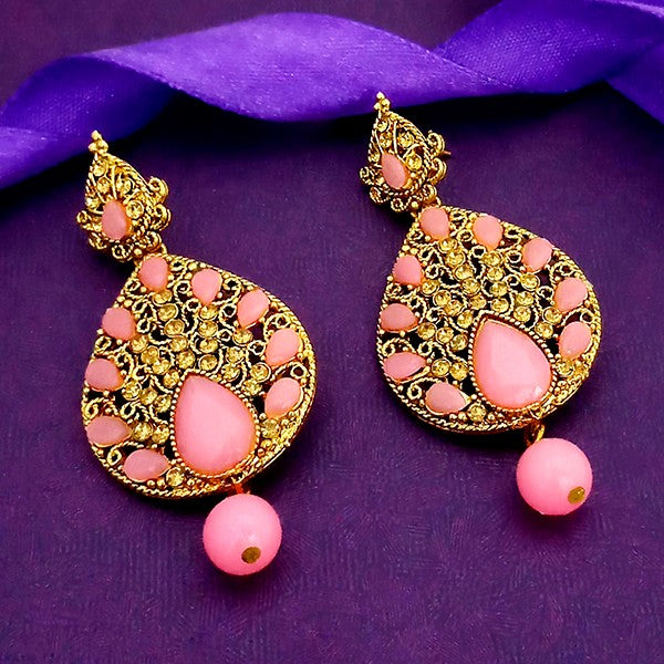 Kriaa Austrian Stone And Pink Kundan Gold Plated Dangler Earrings