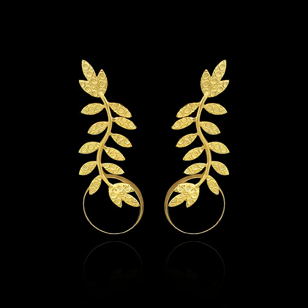 Infinity Gold Plated Leaf Design Dangler Earrings