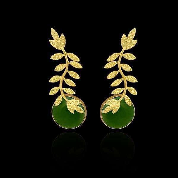 Native Haat Resin Stone Gold Plated Leaf Design Dangler Earrings - N1313101B