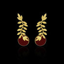 Infinity Gold Plated Resin Stone Leaf Design Dangler Earrings