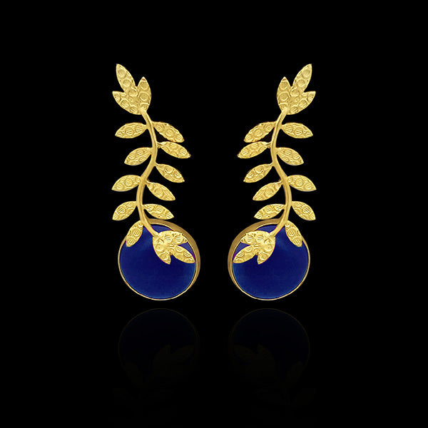 Urthn Resin Stone Leaf Design Gold Plated Dangler Earrings