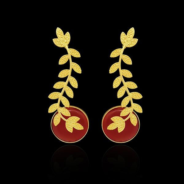 Infinity Resin Stone Leaf Design Gold Plated Dangler Earrings