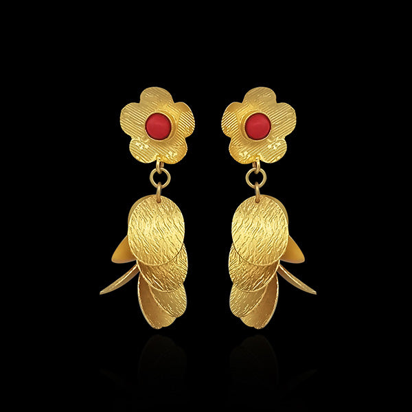 Urthn Maroon Pota Stone Gold Plated Dangler Earrings