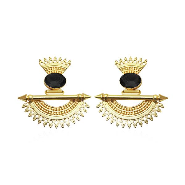 Native Haat Black Stone Gold Plated Dangler Earrings - N1313105B