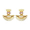 Native Haat Pink Crystal Stone Gold Plated Dangler Earrings - N1313105C