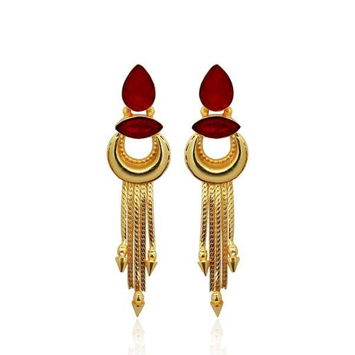 Infinity Maroon Crystal Stone Gold Plated Dangler Earrings