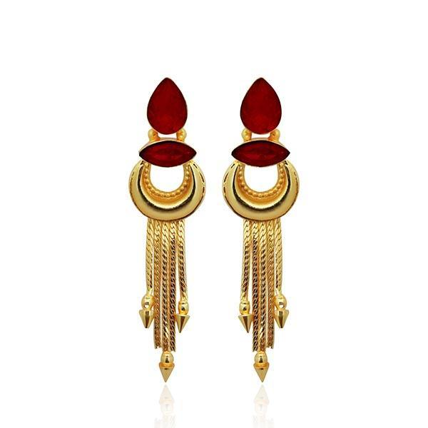 Native Haat Maroon Crystal Stone Gold Plated Dangler Earrings - N1313106B