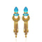 Native Haat Blue Crystal Stone Gold Plated Dangler Earrings - N1313106C