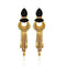 Native Haat Black Resin Stone Gold Plated Dangler Earrings - N1313106D
