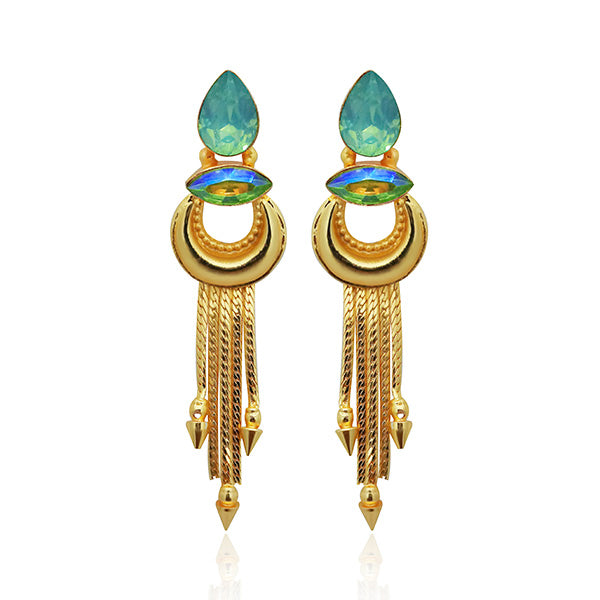 Infinity Blue Crystal Stone Gold Plated Dangler Earrings