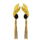 Native Haat Black Resin Stone Gold Plated Dangler Earrings - N1313107C