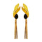 Infinity Black Resin Stone Gold Plated Dangler Earrings