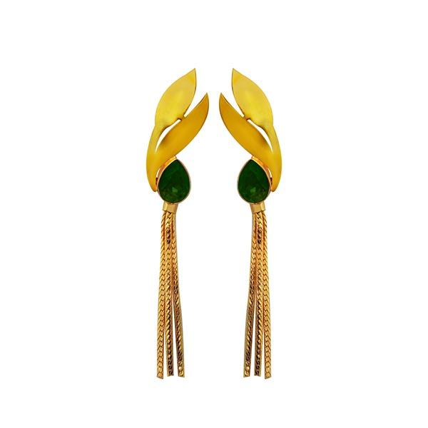 Infinity Green Crystal Stone Gold Plated Dangler Earrings