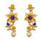 Infinity Blue Austrian Stone Gold Plated Floral Dangler Earrings