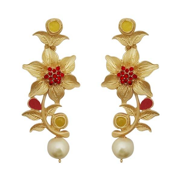 Infinity Maroon Austrian Stone Gold Plated Floral Dangler Earrings