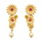Infinity Maroon Pota Stone Gold Plated Floral Dangler Earrings
