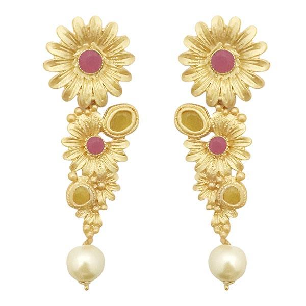 Infinity Pink Pota Stone Gold Plated Floral Dangler Earrings