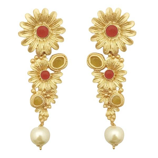 Infinity Red Pota Stone Gold Plated Floral Pearl Dangler Earrings
