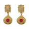 Infinity Maroon Pota Stone Gold Plated Pearl Dangler Earrings