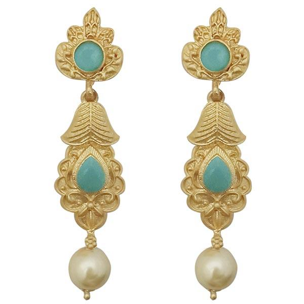 Infinity Blue Pota Stone Gold Plated Pearl Drop Dangler Earrings