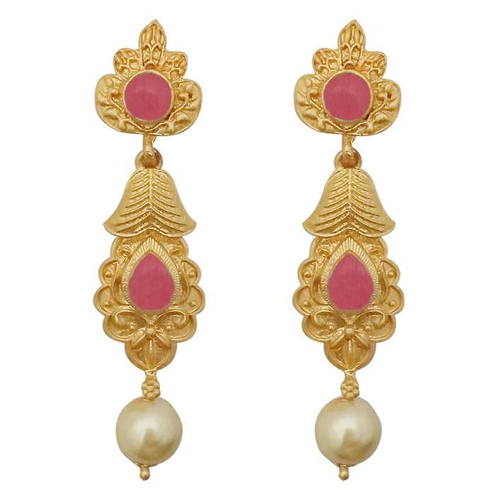 Infinity Pink Pota Stone Gold Plated Pearl Dangler Earrings